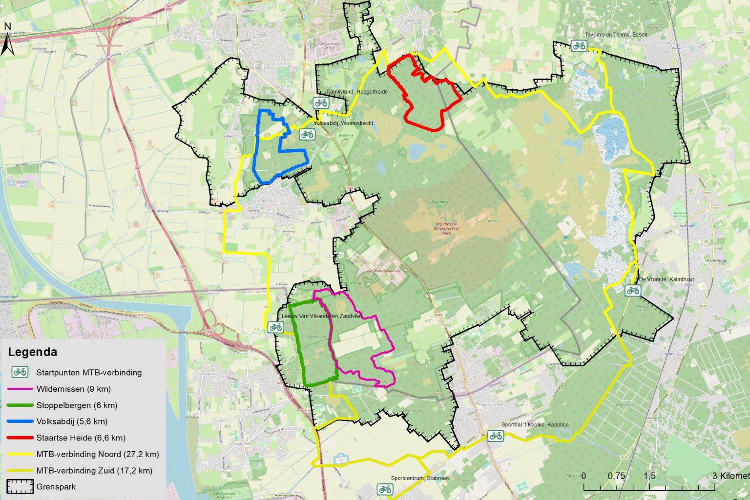 Overzichtskaart mountainbikeroutenetwerk Kalmthoutse Heide 2021