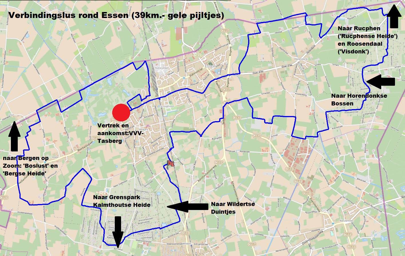 Overzichtskaart mountainbikeroutes Essen