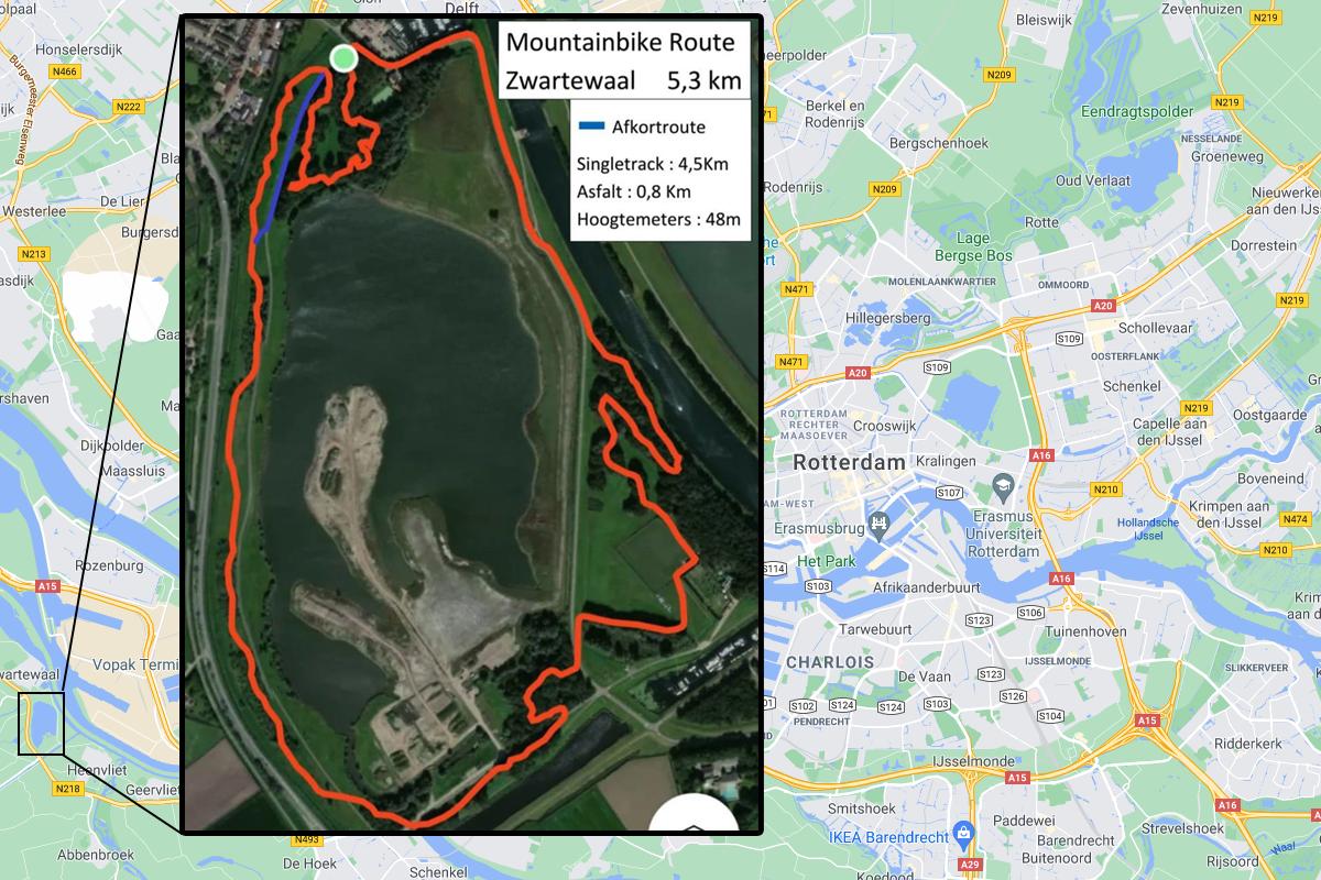 Overzichtskaart Mountainbikeroute Zwartewaal