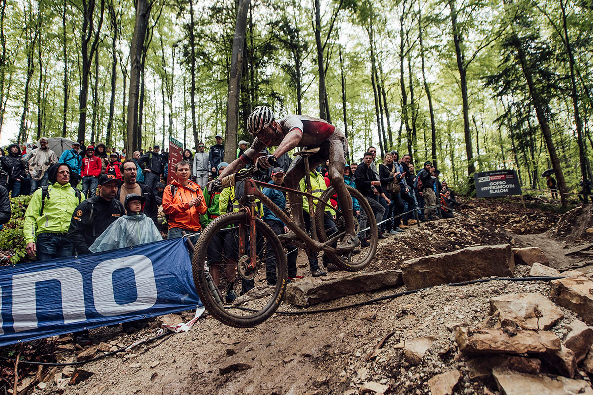Mathieu Van der Poel performs at UCI XCO World Cup in Albstadt, Germany on May 19, 2019 // Bartek Wolinski