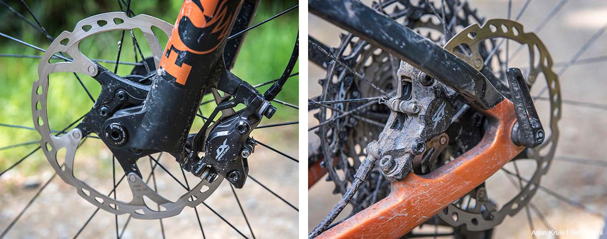 Shimano XT remmen op beide bikes
