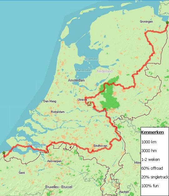 Overzichtskaart Dutch Divide Bikepacking route - Marc Dirkx